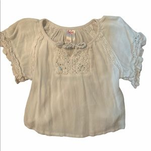 Justice Girls White Lace Short Sleeve Blouse 6Yrs